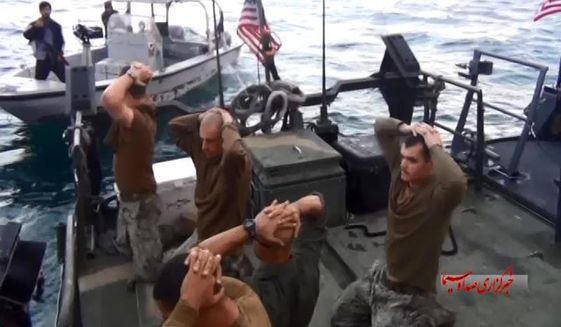 American Navy sailors are detained by the Iranian Revolutionary Guards in the Persian Gulf on Jan. 13. (Associated Press)