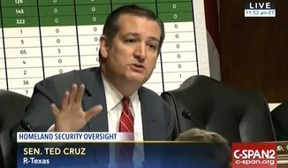 "Texas Sen. Ted Cruz questions DHS Secretary Jeh Johnson on the Obama administration's decision to ""purge"" references to Islam from terrorism reports, Thursday, June 30, 2016. (C-SPAN 2)"