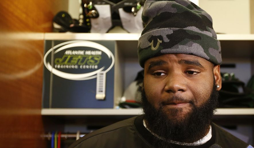 FILE - In this Jan. 4, 2016, file photo, New York Jets defensive tackle Sheldon Richardson talks to the media as the team clears out their lockers at the team's NFL football training facility,  in Florham Park, N.J. Sheldon Richardson has been suspended by the NFL for the first game of the 2016 regular season for violating the league's personal conduct policy. Richardson will be eligible to return to the Jets' active roster on Sept. 12 following the team's Sept. 11 opener against Cincinnati. But he can participate in all preseason practices and games.(AP Photo/Rich Schultz, File)