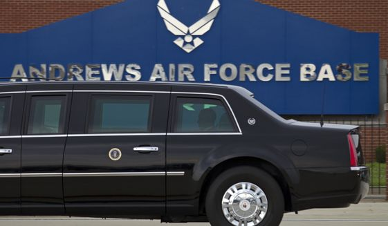 In this photo taken July 15, 2016, President Barack Obama rides in his limousine as he arrives at Joint Base Andrews, Md. (AP Photo/Jose Luis Magana)