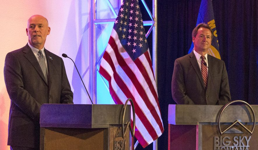 FILE - In this June 26, 2016, file photo, Montana Gov. Steve Bullock, right, and his Republican challenger, Greg Gianforte take part in their first debate of the campaign season in Big Sky, Mont. In his bid for Montana governor, Bozeman entrepreneur Greg Gianforte has given his campaign more than $500,000 and more of his personal wealth could stream into his campaign as the Republican ramps up his effort to unseat Gov. Steve Bullock and pours more money into expensive television spots and other advertising. (AP Photo/Bobby Caina Calvan, File)