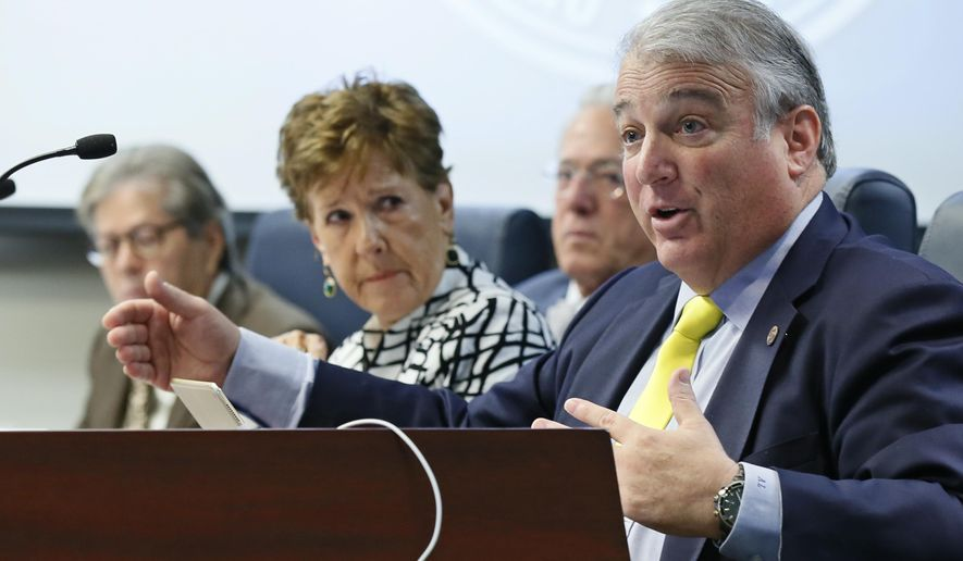 Andy Lester, board member, Oklahoma State Regents for Higher Education, speaks during a board meeting in Oklahoma City, Thursday, June 30, 2016. The Oklahoma State Regents have approved increases in mandatory tuition and fees for the state's public colleges and universities. (AP Photo/Sue Ogrocki)