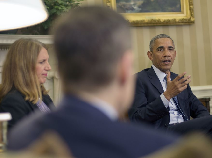 President Obama speaks during a briefing on the ongoing response to the Zika virus with members of his public health team in the Oval Office of the White House on July 1, 2016. Joining Obama are Health and Human Services Secretary Sylvia Mathews Burwell (left) and Dr. Tom Frieden (center), director of the Centers for Disease Control and Prevention. (Associated Press) **FILE**