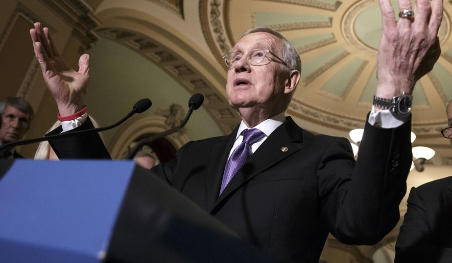 Senate Minority Leader Harry Reid, Nevada Democrat, speaks in Washington on June 28, 2016. (Associated Press) **FILE**