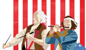 Illustration on the spirit of July 4 by Linas Garsys/The Washington Times