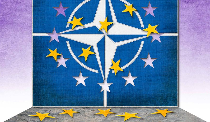 European Union Exits NATO Illustration by Greg Groesch/The Washington Times