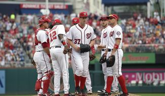 Washington Nationals starting pitcher Stephen Strasburg (37) is pulled from a bseball game during the seventh inning against the Cincinnati Reds, Sunday, July 3, 2016, in Washington. (AP Photo/Nick Wass)