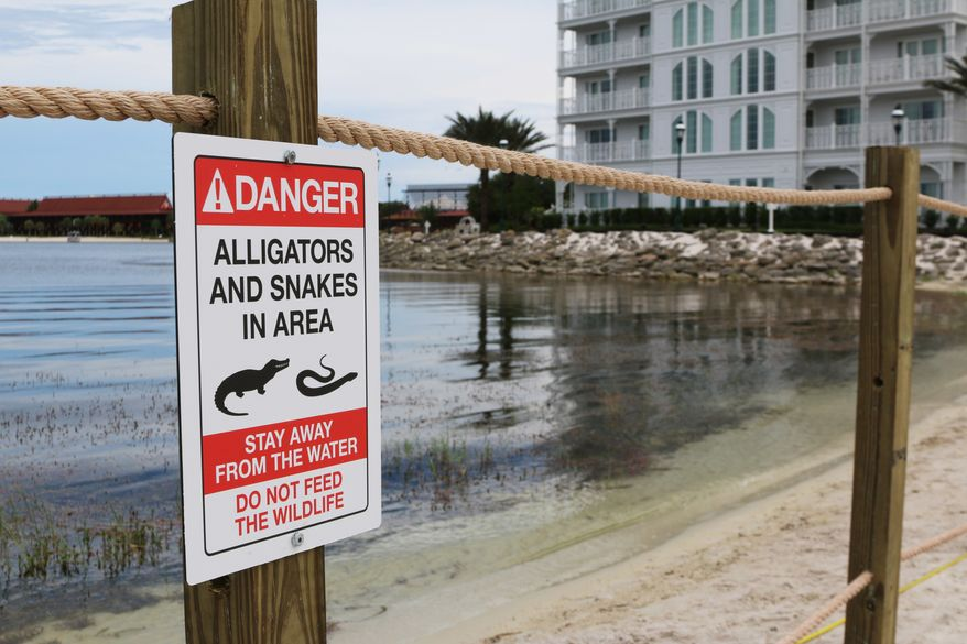 In this Friday, June, 17, 2016 file photo released by Walt Disney World Resort, a new sign is seen posted on a beach outside a hotel at a Walt Disney World resort in Lake Buena Vista, Fla., after a 2-year-old Nebraska boy killed by an alligator at Disney World. (Walt Disney World Resort via AP, File)