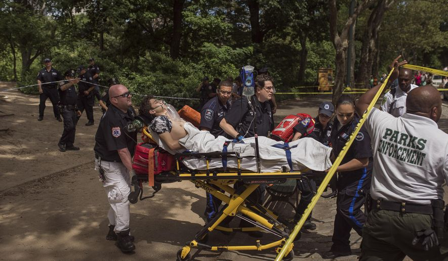 A injured man is carried to an ambulance in Central Park in New York, Sunday, July 3, 2016. Authorities say a man was seriously hurt in Central Park and people near the area reported hearing some kind of explosion. Fire officials say it happened shortly before 11 a.m., inside the park at 68th Street and Fifth Avenue.  (AP Photo/Andres Kudacki)