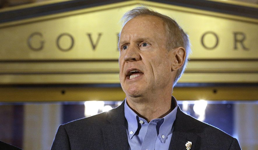 In this Thursday, June 30, 2016 photo, Illinois Gov. Bruce Rauner speaks to reporters in front of his office at the Illinois State Capitol in Springfield, Ill., after lawmakers passed a stop gap budget. Illinois has redefined what it means to have a late budget. Other states have gone several months without a spending plan before and Illinois has had previous delays that caused great anxiety. But no state has gone as long as Illinois without a budget in modern history.  (AP Photo/Seth Perlman)