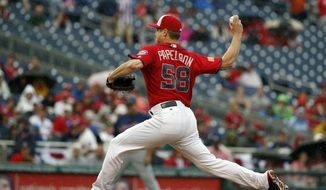 Washington Nationals relief pitcher Jonathan Papelbon throws during the ninth inning of a baseball game against the Milwaukee Brewers at Nationals Park, Monday, July 4, 2016, in Washington. (AP Photo/Alex Brandon)