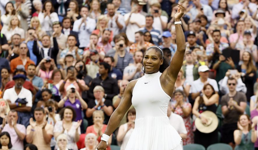 Serena Williams of the U.S celebrates after beating Svetlana Kuznetsova of Russia in their women's singles match on day eight of the Wimbledon Tennis Championships in London, Monday, July 4, 2016. (AP Photo/Kirsty Wigglesworth)