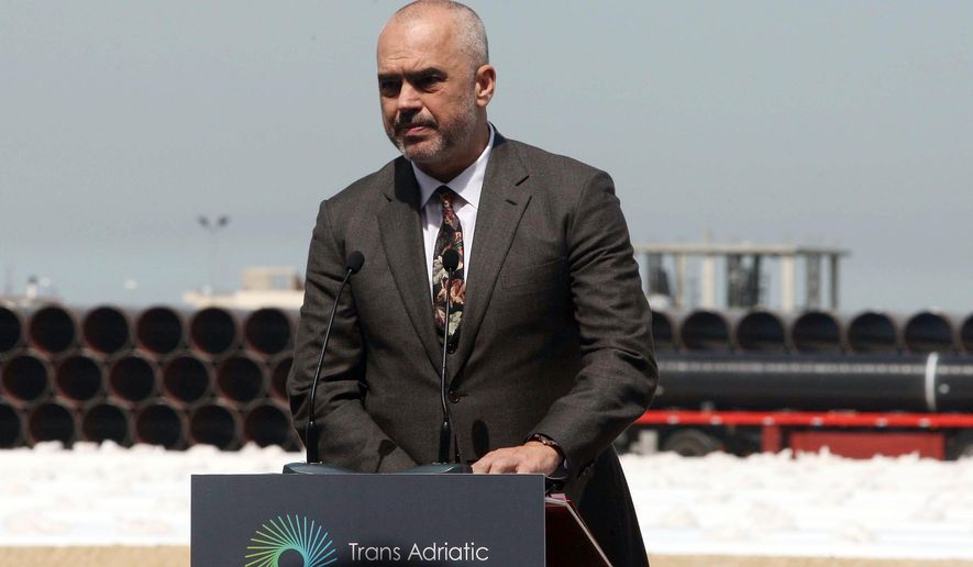 FILE - A Monday, April 18, 2016 file photo of Albanian Prime Minister Edi Rama speaking about the Trans-Adriatic Pipeline (TAP) project in Durres, Albania. Albania's main opposition Democratic Party has made a criminal complaint against Prime Minister Edi Rama, accusing him of illegally funneling $80,000 to U.S. President Barack Obama's re-election campaign in 2012 in return for a photograph of the two men together. (AP Photo/Hektor Pustina, File)