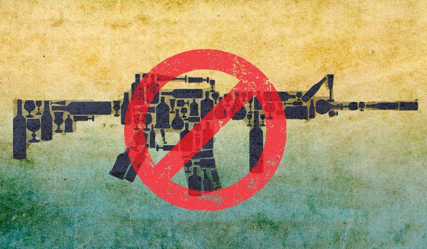 Ban Assault Bottles Illustration by Greg Groesch/The Washington Times