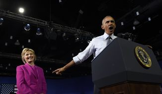 President Barack Obama speaks about Democratic presidential candidate Hillary Clinton during a campaign event at the Charlotte Convention Center in Charlotte, N.C., Tuesday, July 5, 2016. Obama is spending the afternoon campaigning for Clinton. (AP Photo/Susan Walsh)