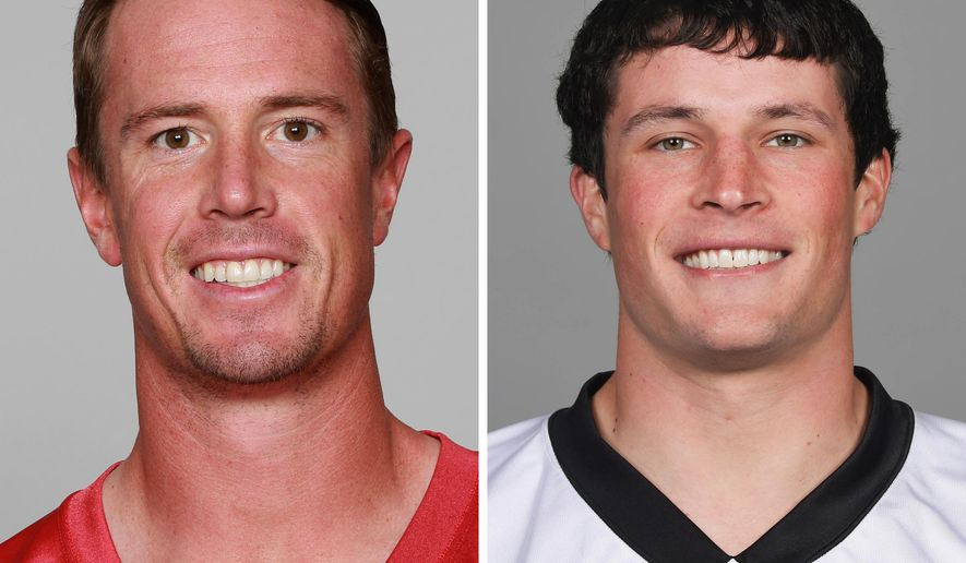 FILE - At left is a 2015 file photo showing Atlanta Falcons' Matt Ryan. At right is a 2016 file photo showing Carolina Panthers' Luke Kuechly. Boston College will retire the jerseys of Falcons quarterback Matt Ryan and Panthers linebacker Luke Kuechly in separate ceremonies during the 2016 season. Kuechly's jersey will be retired at the Eagles' Oct. 22 game against Syracuse. Ryan will be honored at the Nov. 19 game against Connecticut. (AP Photo/File)