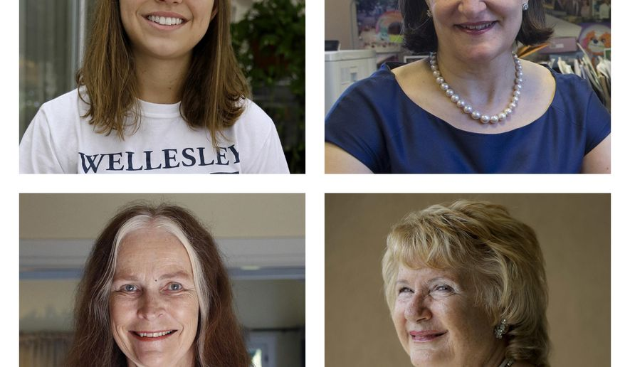 This combination of June 2015 photos shows, top row from left, Emily DiVito in St. Petersburg, Fla., and Dr. Sarah Schlesinger in New York; at bottom row from left are Cheryl Walker in Los Angeles and Cheryl Brierton in San Diego. All four are graduates of Wellesley College, also the alma mater of Hillary Clinton. (AP Photo)
