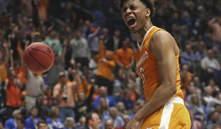 FILE - In this March 11, 2016, file photo, Tennessee's Robert Hubbs III (3) reacts after making a basket against LSU during the second half of an NCAA college basketball game in the Southeastern Conference tournament in Nashville, Tenn. For the first time in his college career, Hubbs isn't having to adjust to a new head coach. Hubbs, one of the few upperclassmen on Tennessee's roster, is hoping that stability will help him deliver a breakthrough season. (AP Photo/John Bazemore, File)