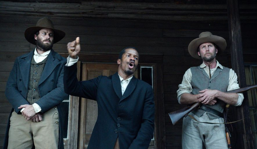 "In this image released by Fox Searchlight Pictures, from left, Armie Hammer portrays Samuel Turner, Nate Parker portrays Nat Turner and Jayson Warner Smith portrays Earl Fowler in a scene from ""The Birth of a Nation,"" opening Oct. 7, 2016. Parker said he hopes the movie will inspire people to challenge injustices worldwide and said the lecture series would help. (Fox Searchlight Pictures via AP)"