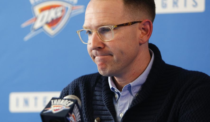 Oklahoma City Thunder general manager Sam Presti pauses as he answers a question when addresses the media regarding Kevin Durant's announcement that he will sign with the Golden State Warriors, Monday, July 4, 2016, in Oklahoma City. (Kurt Steiss/The Oklahoman via AP)
