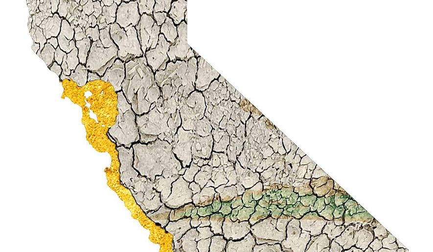 Illustration on the state of California by Alexander Hunter/The Washington Times