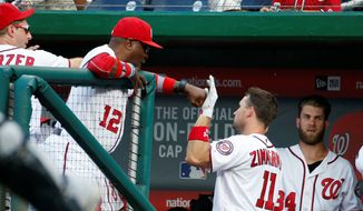 Washington Nationals manager Dusty Baker congratulates Ryan Zimmerman after the first baseman slugged a two-run home run in the fifth inning to give the team the cushion it needed in a 7-4 win over the Milwaukee Brewers on Wednesday. (Associated Press)