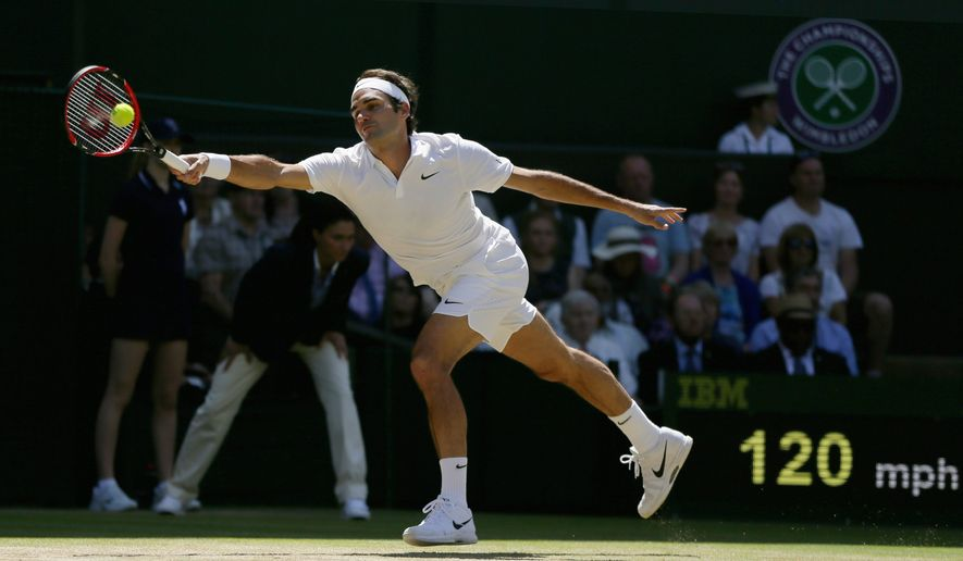 Roger Federer nearly saw his bid for a record eighth Wimbledon championship fall on Wednesday before rallying for a 6-7 (4), 4-6, 6-3, 7-6 (9), 6-3 victory over Marin Cilic and his 10th career two-set hole comeback. (Associated Press)