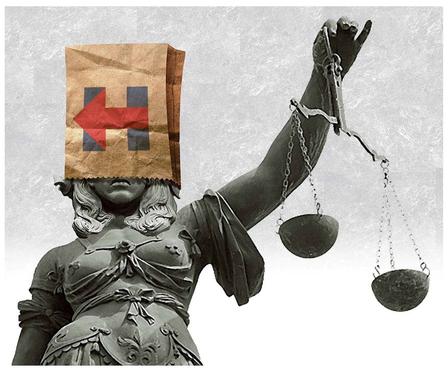 Illustration on Hillary Clinton's immunity to the rule of law by Alexander Hunter/The Washington Times