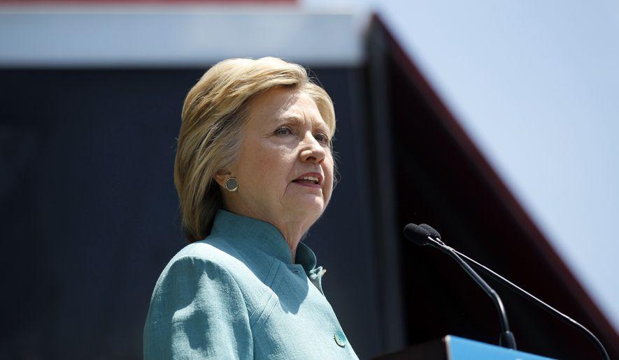 Democratic presidential candidate Hillary Clinton speaks on the Boardwalk in Atlantic City, N.J., on July 6, 2016. (Associated Press) **FILE**