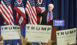 Former House Speaker Newt Gingrich speaks before introducing Republican presidential candidate Donald Trump during a campaign rally at the Sharonville Convention Center, Wednesday, July 6, 2016, in Cincinnati. (AP Photo/John Minchillo)