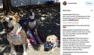 Actress Kaley Cuoco caused controversy by posting this photo of a dog on the American flag. The photo has since been deleted from her Instagram account.