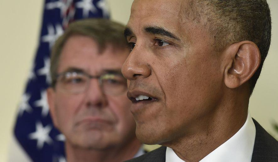 Defense Secretary Ash Carter listens at left as President Barack Obama makes a statement on Afghanistan from the Roosevelt Room of the White House in Washington, Wednesday, July 6, 2016. The president said the U.S. will leave 8,400 troops in Afghanistan when he completes his term, down slightly from the current number but well up from the 5,500 he announced previously, arguing America's interests depend on helping Afghanistan's struggling government fight continuing threats from the Taliban and others.  (AP Photo/Susan Walsh)