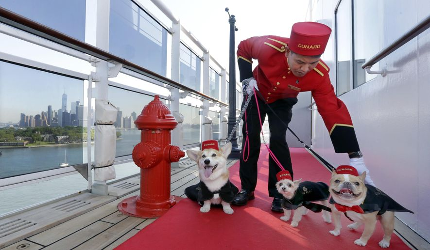 Kennel Master Oliver Cruz tends to celebrity dogs Wally, from left, Ella and Chloe outside the kennel aboard the ocean liner Queen Mary 2, docked at her homeport at the Brooklyn Cruise Terminal in New York, Wednesday, July 6, 2016. The Cunard ship underwent $132-million of renovations that includes, for its four-legged passengers, additional kennels, more play space and an owner's lounge. (AP Photo/Richard Drew)