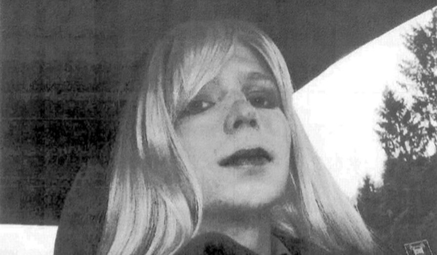 FILE - In this undated file photo provided by the U.S. Army Pfc. Chelsea Manning poses for a photo wearing a wig and lipstick. A U.S. Defense Department official said that Manning, an imprisoned transgender soldier formerly known as Bradley Manning, was hospitlaized Tuesday, July 5, 2016, in Leavenworth, Kan. Manning is serving a 35-year sentence at Fort Leavenworth's military prison for sending classified information to the anti-secrecy website WikiLeaks. (AP Photo/U.S. Army, File)