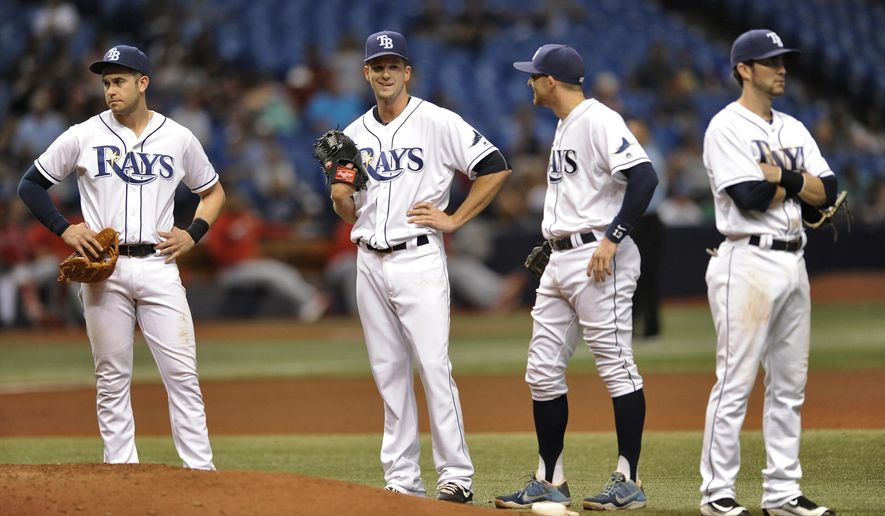 CORRECTS INNING TO FOURTH- Tampa Bay Rays' Evan Longoria, from left, Drew Smyly, Brad Miller and Nick Franklin stand near the mound as umpires review a hit-by-pitch call on Los Angeles Angels' Yunel Escobar during the fourth inning of a baseball game Wednesday, July 6, 2016, in St. Petersburg, Fla. The call was reversed after the video review. (AP Photo/Steve Nesius)
