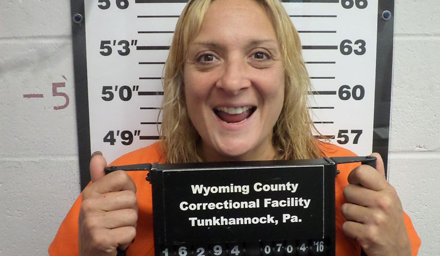 This undated photo provided by the Wyoming County Correctional Facility in Tunkhannock, Pa., shows Kimberly Brinton of Meshoppen, Pa. Brinton was jailed on aggravated assault and other charges after police say she sprayed gasoline on another woman who criticized her for smoking a cigarette while pumping fuel on Thursday, June 30, 2016, at the Dandy Mini Mart convenience store in Mehoopany, Pa., about 30 miles northwest of Scranton, Pa. (Wyoming County Correctional Facility via AP)