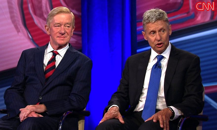 Libertarian nominees Gary Johnson (right) and Bill Weld, during an appearance on CNN. (CNN image)