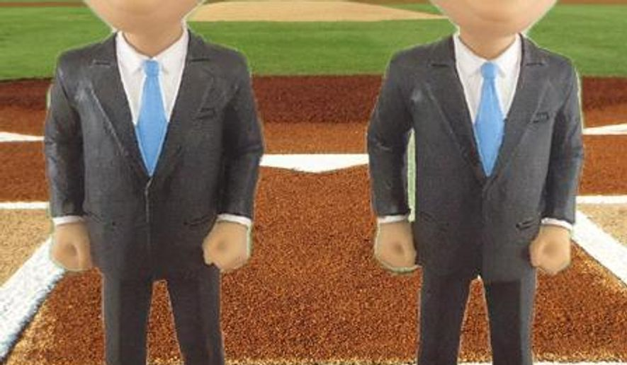 "An undated photo provided by the Bowie Baysox show two bobblehead dolls of Maryland Gov. Larry Hogan: one depicting the chief executive bald and the other with hair. Hogan and minor league baseball team the Bowie Baysoxare raising cancer awareness with the help of the bobbleheads. On July 24, 2016, the first 1,000 fans 18 or older to the Baysox game will choose between the bobbleheads, and the one that runs out first will be declared winner of the ""Bobblection."" Hogan was diagnosed with Stage 3 non-Hodgkin's lymphoma in June 2015.  (The Bowie Baysox via AP)"