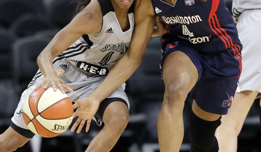 San Antonio Stars guard Moriah Jefferson, left, drives around Washington Mystics guard Tayler Hill, right, during the first half of a WNBA basketball game Wednesday, July 6, 2016, in San Antonio. (AP Photo/Eric Gay)