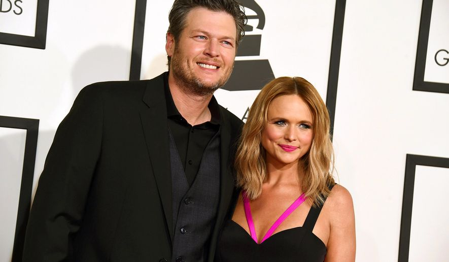 FILE - In this Feb. 8, 2015, file photo, Blake Shelton, left, and Miranda Lambert arrive at the 57th annual Grammy Awards in Los Angeles. Lambert has shut down her bed-and-breakfast in rural Oklahoma, about a month after she closed her clothing boutique in the town where she once lived with her ex-husband Shelton. (Photo by Jordan Strauss/Invision/AP, File)