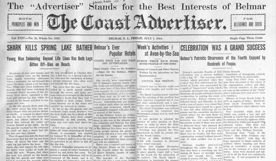 This image provided by the Matawan Historical Society of a July 7, 1916 front page of The Coast Advertiser newspaper, describes a fatal shark attack on a young man who was swimming in Spring Lake, N.J. One hundred years ago, many scientists believed sharks would never harm humans. That myth was shattered 1916 when the first recorded multiple fatal shark attacks left four people dead at the New Jersey shore over a period of 12 days, sparking fears that endure today. (Matawan Historical Society via AP)