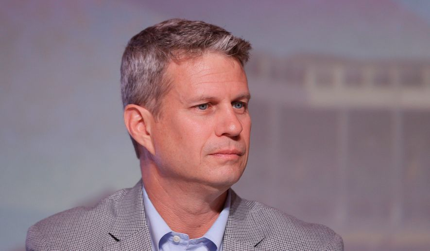 U.S. Rep. Bill Huizenga, R-Mich., is seen during a congressional panel at the 2016 Mackinac Republican Leadership Conference, Saturday, Sept. 19, 2015, in Mackinac Island, Mich. (AP Photo/Carlos Osorio) ** FILE **