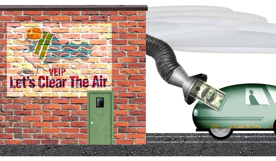 Illustration questioning the efficacy of auto emissions testing by Alexander Hunter/The Washington Times