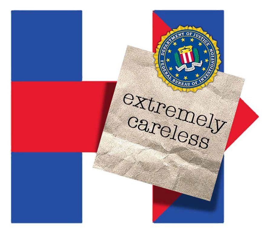Illustration on the FBI's finding in the Hillary email case by Alexander Hunter/The Washington Times