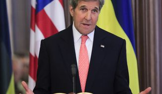 U.S. Secretary of State John Kerry gestures while speaking during his and Ukrainian President Petro Poroshenko news conference after the talks in Kiev, Ukraine, Thursday, July 7, 2016. Kerry is meeting Ukrainian President Petro Poroshenko and others to discuss progress made on reforms called for by agreements reached in Minsk to end the conflict in eastern Ukraine with Russian-backed separatists, which has already seen Moscow annex Crimea. (AP Photo/Sergei Chuzavkov)