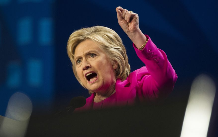 Democratic presidential candidate Hillary Clinton speaks in Washington on July 5, 2016. (Associated Press) **FILE**