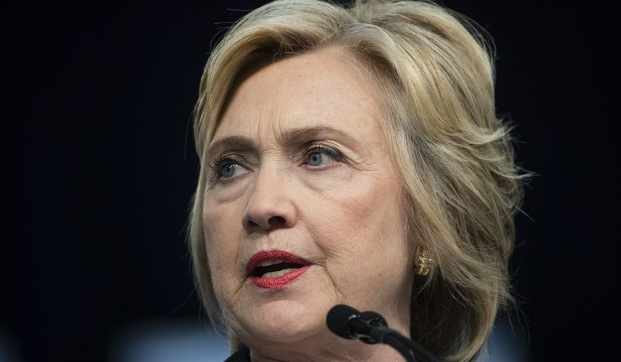 Democratic presidential candidate Hillary Clinton speaks at the African Methodist Episcopal church national convention in Philadelphia, Friday, July 8, 2016. (AP Photo/Matt Rourke) **FILE**