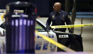 Dallas Police Chief David Brown leaves the Baylor University Medical Center after a visit, Friday, July 8, 2016, in Dallas. Snipers opened fire on police officers in the heart of Dallas on Thursday night, killing some of the officers. (AP Photo/Tony Gutierrez)