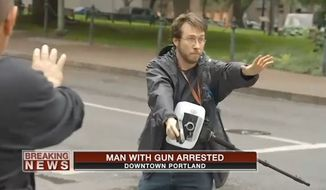 Michael Strickland, a conservative blogger who says he feared for his life during a Black Lives Matter protest Thursday night in Portland, Oregon, has been arrested after he briefly displayed a handgun. (KPTV)