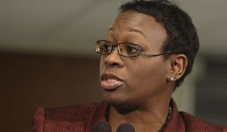 Then-Ohio state Sen. Nina Turner speaks after Ohio Gov. John Kasich's State of the State address at Wells Academy/Steubenville High School in Steubenville, Ohio, on Feb. 7, 2012. (Associated Press) **FILE**